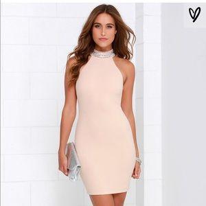 Lulus Luxury Beaded Blush Halter Dress